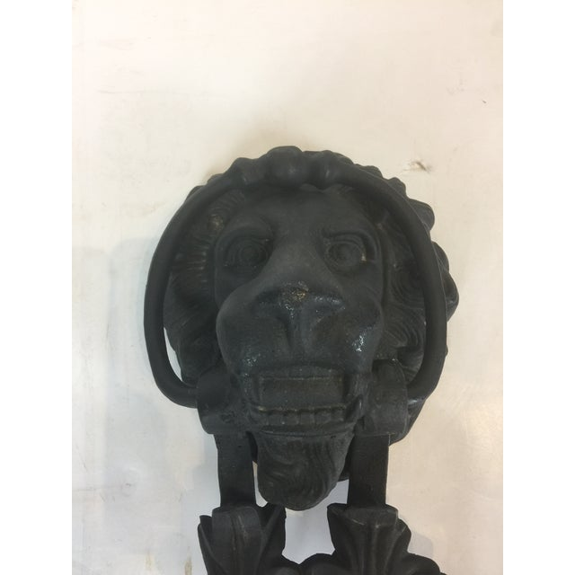 Vintage Solid Iron Lion Door Knocker For Sale In Los Angeles - Image 6 of 13