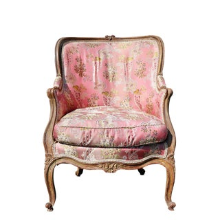 Louis XV Style Walnut and Painted Bergere Chair For Sale