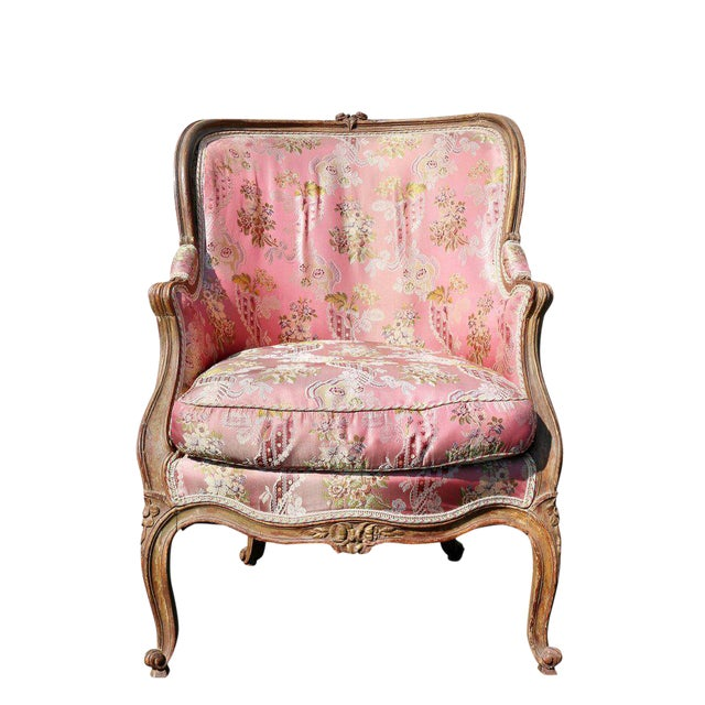 Louis XV Style Walnut and Painted Bergere Chair - Image 1 of 10