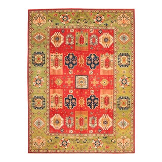 Hand-Knotted Red & Green Rug For Sale