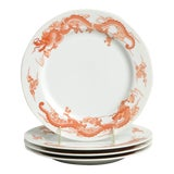 Image of Fukagawa for Tiffany Dragon Red Luncheon Plate Set/4 For Sale