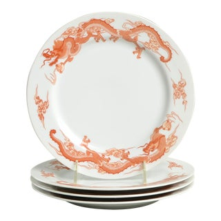 Fukagawa for Tiffany Dragon Red Luncheon Plate Set/4 For Sale