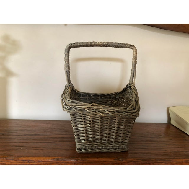Folk Art Antique Wicker Basket With Handle For Sale - Image 3 of 12
