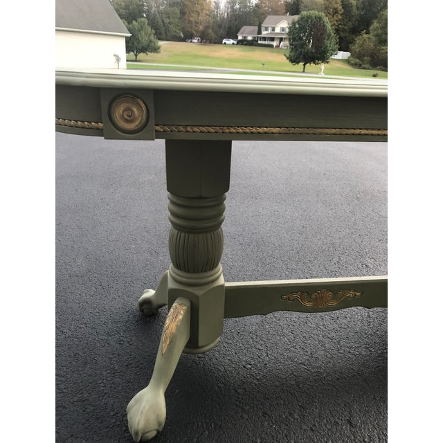 French Country Green & Gold Accent Sofa Table For Sale - Image 3 of 3