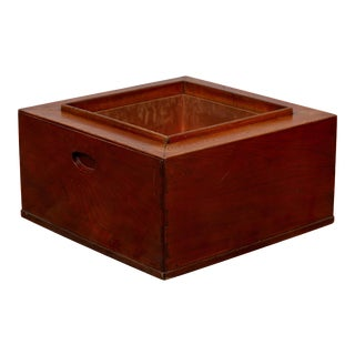 Japanese 19th Century Keyaki Wood Rectangular Hibachi with Copper Liner For Sale