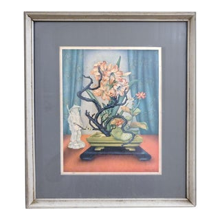 Vintage Ikebana Floral Still Life Lithograph Reproduction For Sale