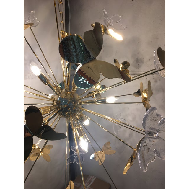 Italian Hand Made Gold 24k Butterfly Sputnik Chandelier For Sale - Image 10 of 13
