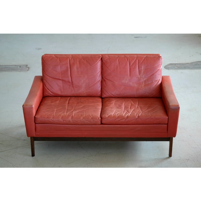 Classic Danish Mid-Century Modern Sofa in Red Leather and Rosewood Base For Sale - Image 4 of 11