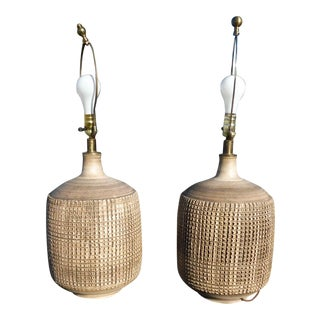 Mid-Century Modern Signed Hand Thrown Bulbous Incised Ceramic Lamps - a Pair For Sale