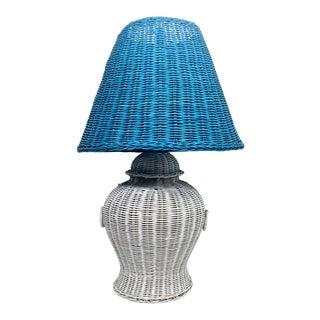 Palm Beach Wicker Lamp For Sale