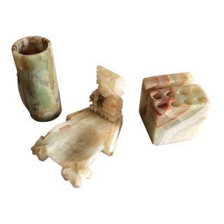 Marble Onyx Desk Accessories - Set of 3 For Sale
