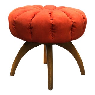 Mid Century Modern Heywood Wakefield Swivel Pouf Stool Ottoman For Sale