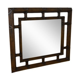 Henredon McGuire Style Large Bamboo Frame Wall Mirror For Sale