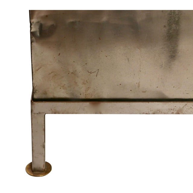 Metal 19th Century Polished Steel Trunk on Stand For Sale - Image 7 of 12