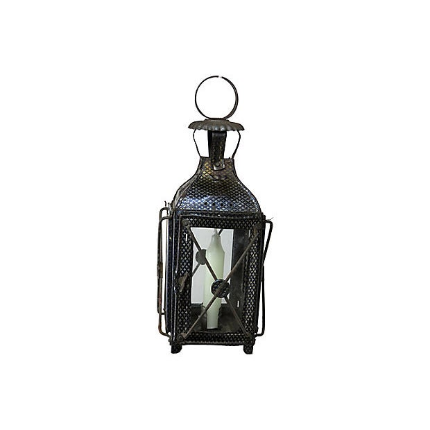 1880s Antique Tin Candle Lantern For Sale - Image 4 of 6