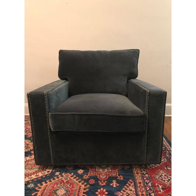 Blue Velvet Bernhardt Swivel Chair For Sale - Image 5 of 5