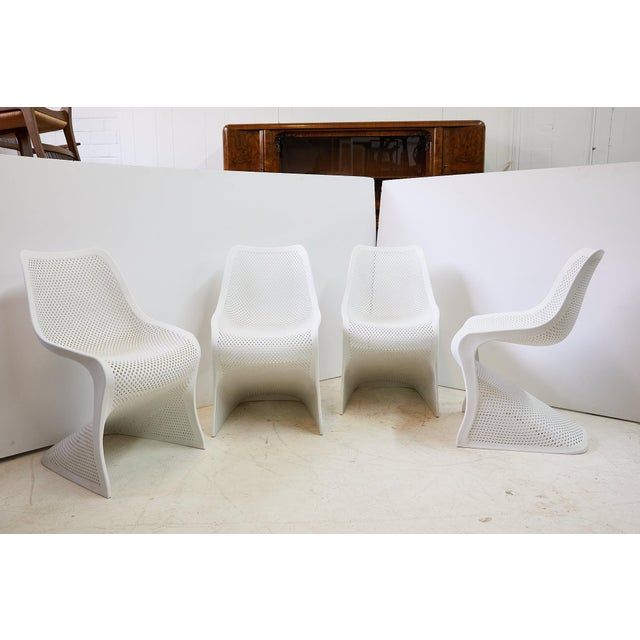Mid-Century Modern Modern Indoor/Outdoor Cantilever Chairs by Compamia, Set of 4 For Sale - Image 3 of 13