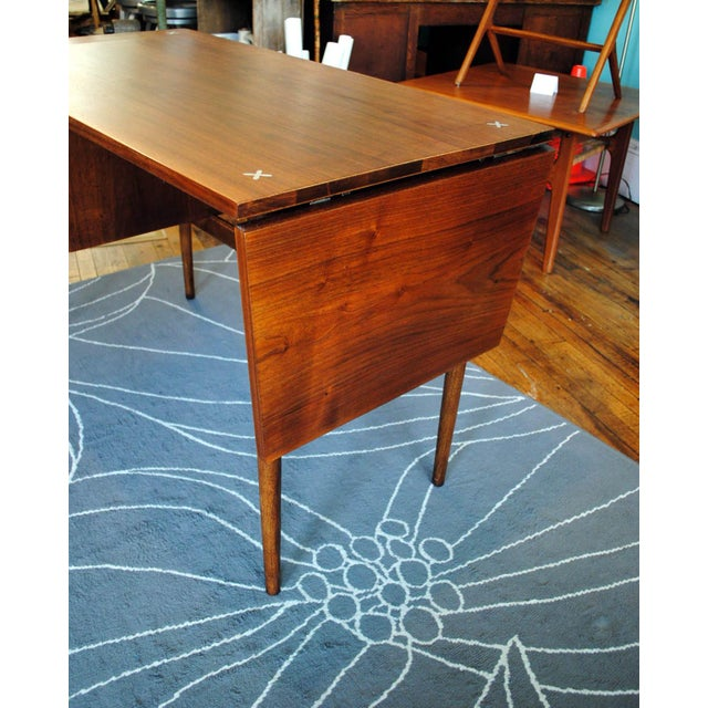 Mid Century American of Martinsville Walnut Drop Leaf Desk - Image 6 of 10