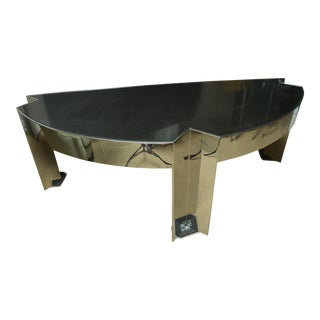 Fabulous Mid-Century Polished Steel Desk with Black Marble Top by Leon Rosen For Sale