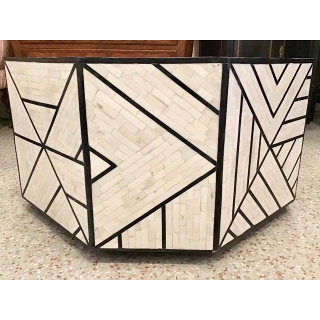 Late 20th Century Modern Tessellated Bone Inlay Geometric Coffee Table For Sale - Image 5 of 11