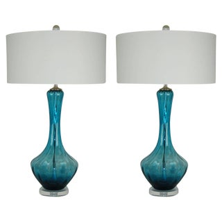 Vintage Italian Glass Petticoat Table Lamps Teal Blue For Sale