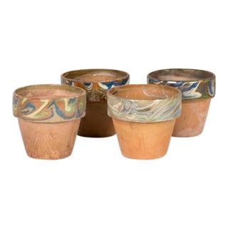 Vintage Marbled Rim Pots - Set of 4 For Sale