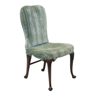 Antique Mahogany Wood Queen Anne Style Upholstered Dining Side Desk Chair A For Sale