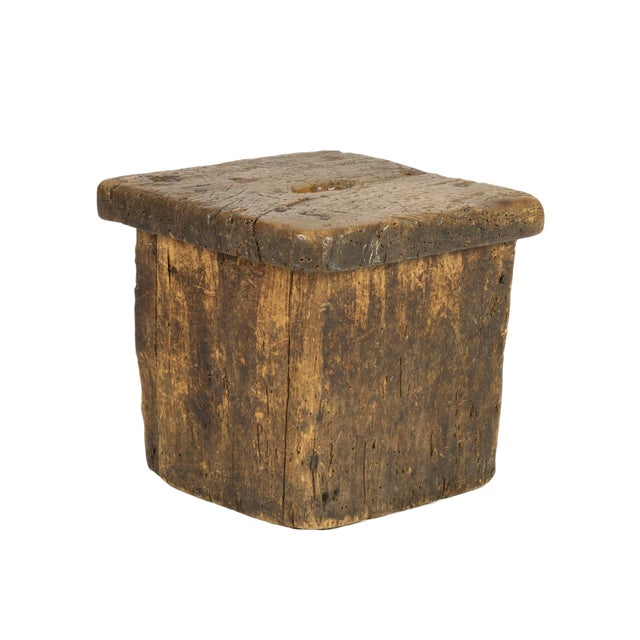 Small Rustic Square Oak Stool With Pierced Top, English Circa 1800. For Sale - Image 13 of 13