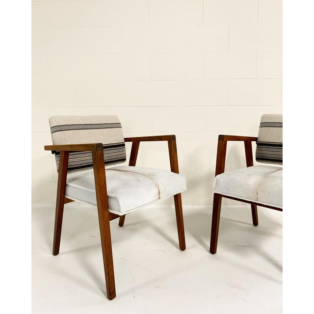Knoll Franco Albini for Knoll Model 48 Chairs in Calfskin and Isabel Marant Silk Wool For Sale - Image 4 of 9
