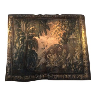 Verdure Tapestry With a Palm Tree and a Bird Tapestry For Sale