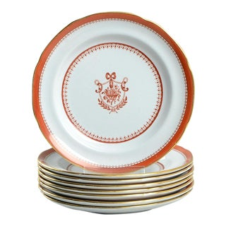Spode Newburyport Red (Gold Trim) Appetizer Plate Set of 8 For Sale