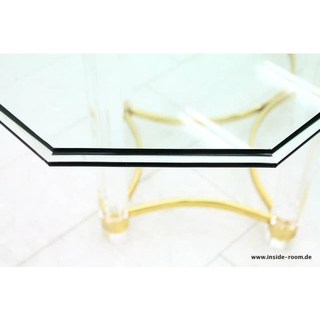 Lucite, Glass and Brass Dining Table, Romeo Paris, 1980s For Sale - Image 10 of 12