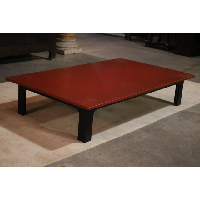 Asian 1940s Japanese Red Lacquer Coffee Table For Sale - Image 3 of 6