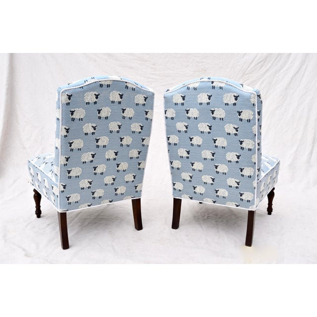 """Scalamandre Scalamandre, """" Ewe Too in Blue"""" Petite Antique Slipper Chairs For Sale - Image 4 of 13"""