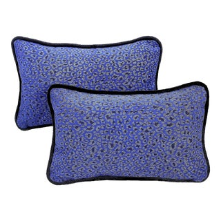 Leopard Cowhide Pillow With Glitter Silver and Piping - a Pair For Sale