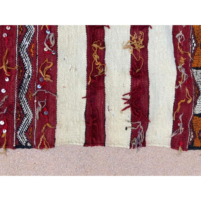 Textile Moroccan Vintage Tribal Kilim Handira Rug, circa 1960 For Sale - Image 7 of 13