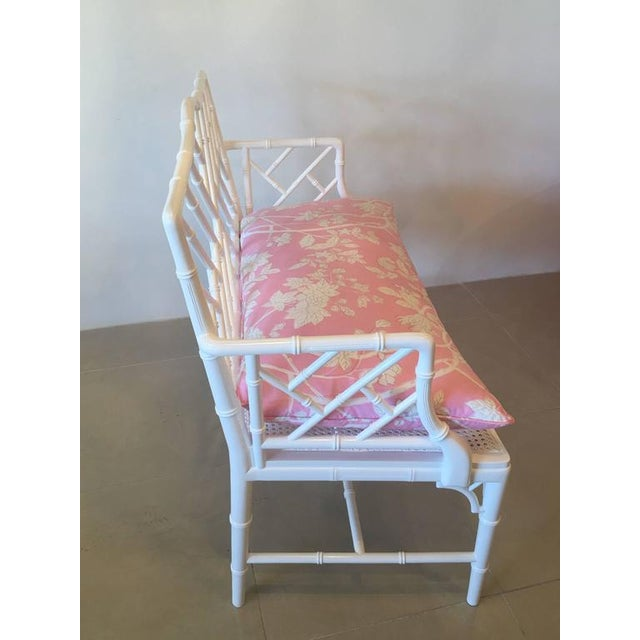 Chinese Chippendale Faux Bamboo Lacquered Pink Cushion Arm Bench For Sale In West Palm - Image 6 of 12