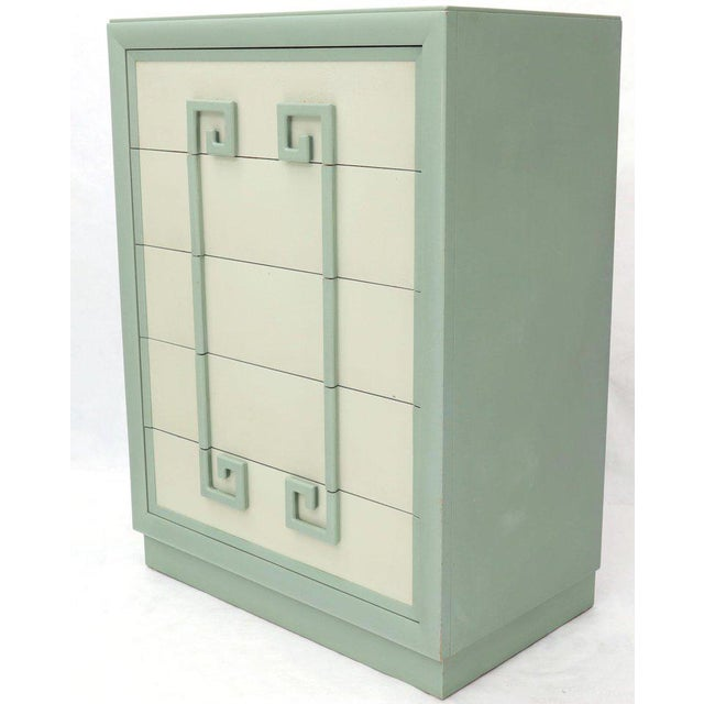 Kittinger Mandarin Chest Dresser Blue and White Lacquer Five Drawers - a Pair For Sale - Image 6 of 13