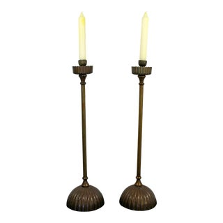 Art Deco Nouveau Pair of Metal Candle Holders Tiffany Style For Sale