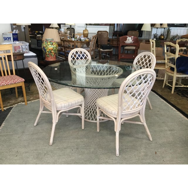 Vintage Bamboo Round Dining Table and Four Chairs For Sale - Image 11 of 11