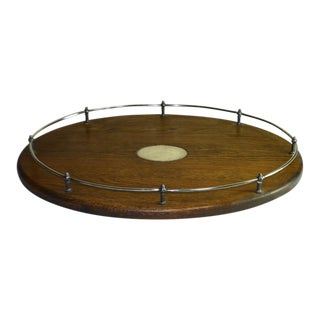 Antique English Oval Oak Tray W/ Silverplate Center Medallion