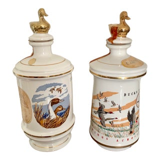 1970's Talism Porcelain Spirit Bottles With Wildlife Design and Gilt Duck Corks - a Pair For Sale