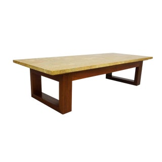 Modernist Travertine and Walnut Coffee Table For Sale