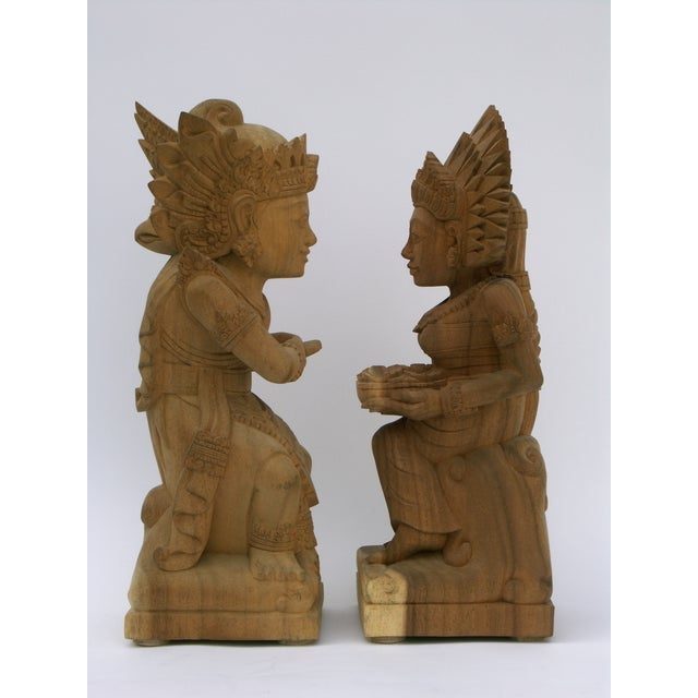 Hand-Carved Wood Balinese Statues - A Pair - Image 3 of 5