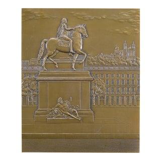 1980s Place Bellecour Bronze Table Medal Plaque For Sale