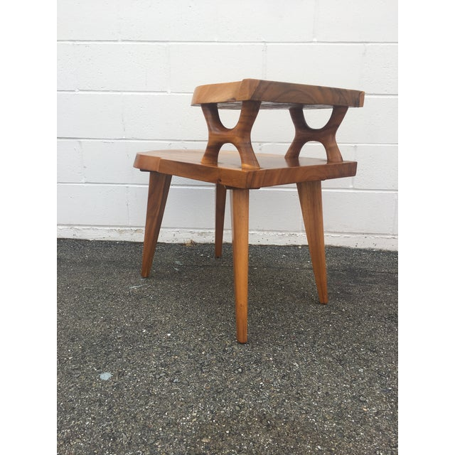 1960s Organic Modern Solid Slab Koa Wood 2-Tiered End Table For Sale - Image 12 of 12
