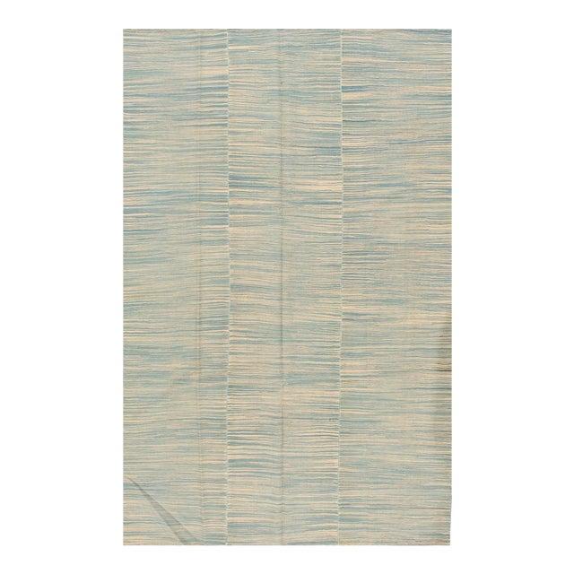 "Apadana - Contemporary Teal/Cream Turkish Kilim Rug, 6'8""x10'11"" For Sale"