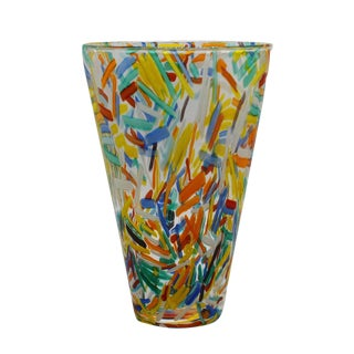 Murano Glass Vase With Colorful Etched Detailing, C. 1960 For Sale