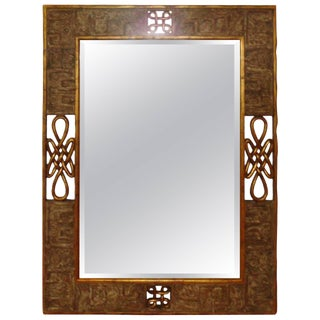 Hand-Carved Giltwood Scrolled Mirror by Harrison and Gil For Sale