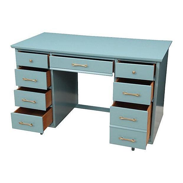 Mid-Century Pale Blue Desk - Image 2 of 7